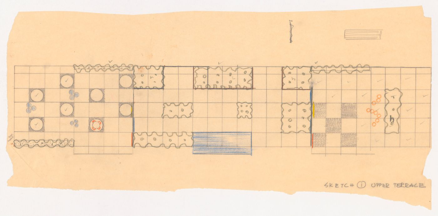Sketch upper terrace plan for University Faculty Club, University of British Columbia, Vancouver, British Columbia