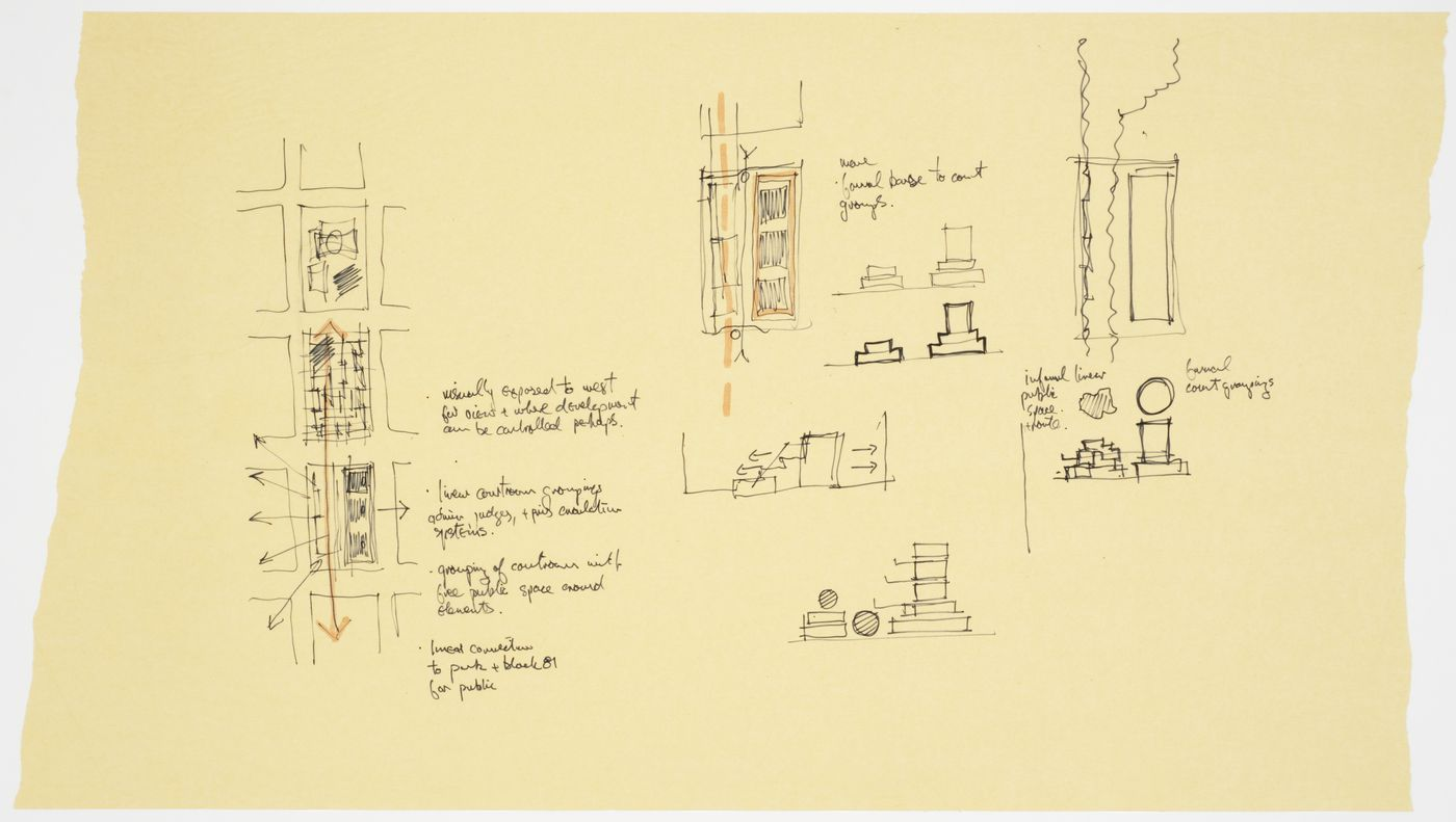 Sketches, schematic plans and elevations, Robson Square, Three Block Project, Vancouver, British Columbia