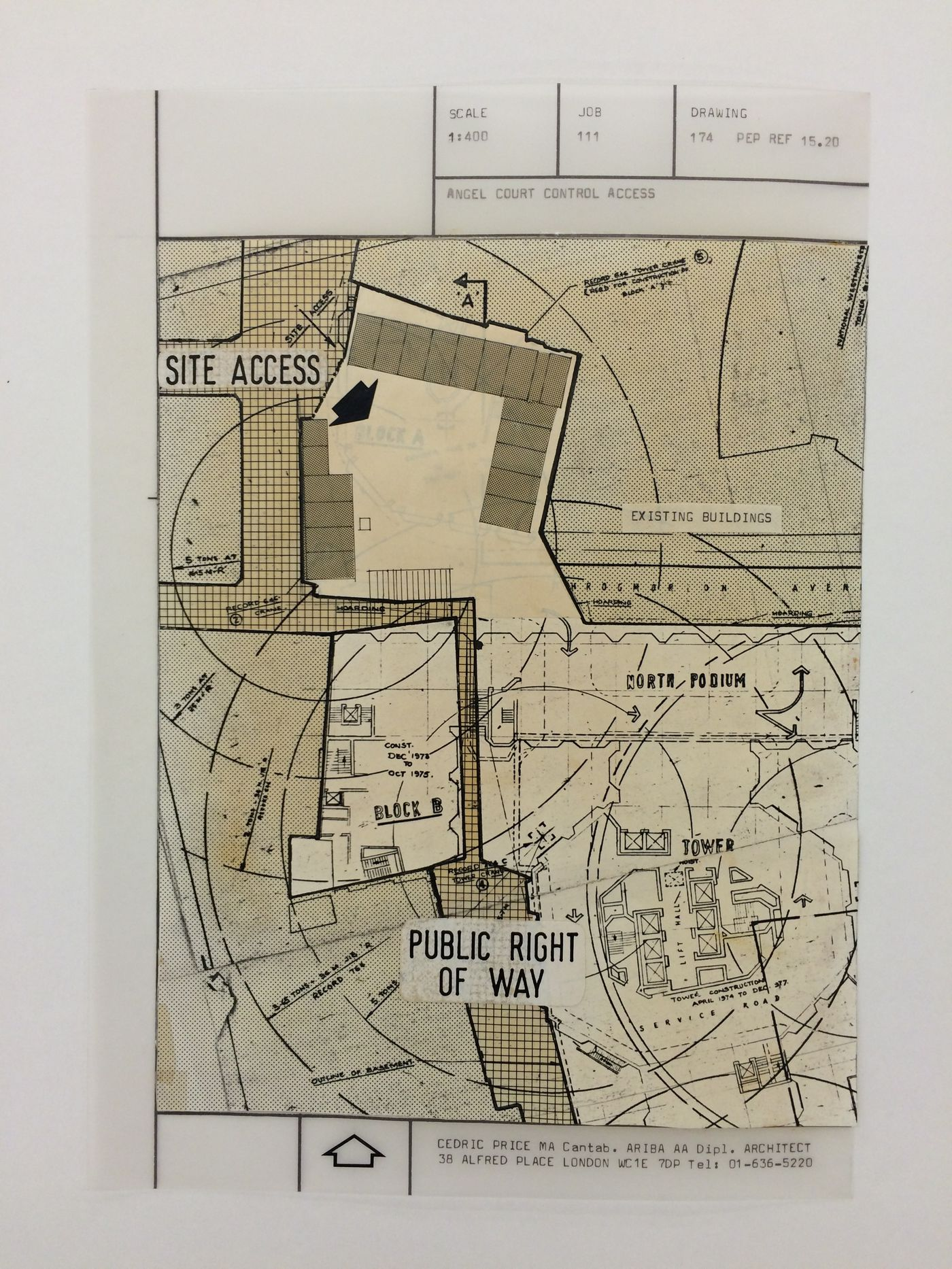 McAppy: site plan showing Angel Court control access