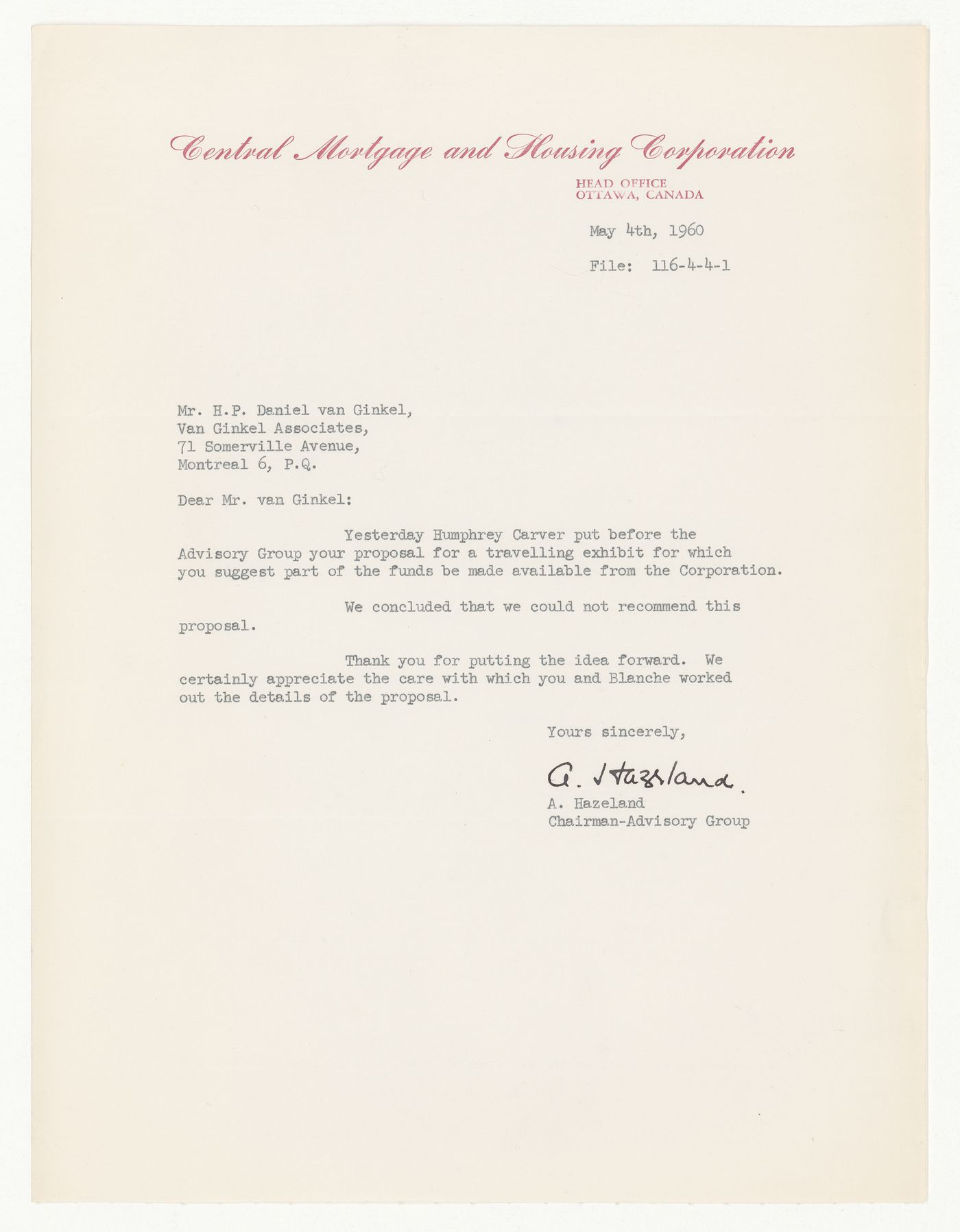 Letter from A. Hazeland to H. P. Daniel van Ginkel for CMHC Exhibition