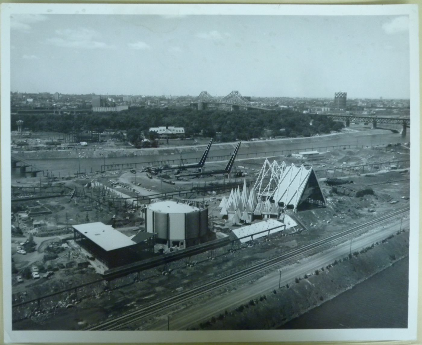 View of the Île Notre-Dame site at its early construction stage, Expo 67, Montréal, Québec