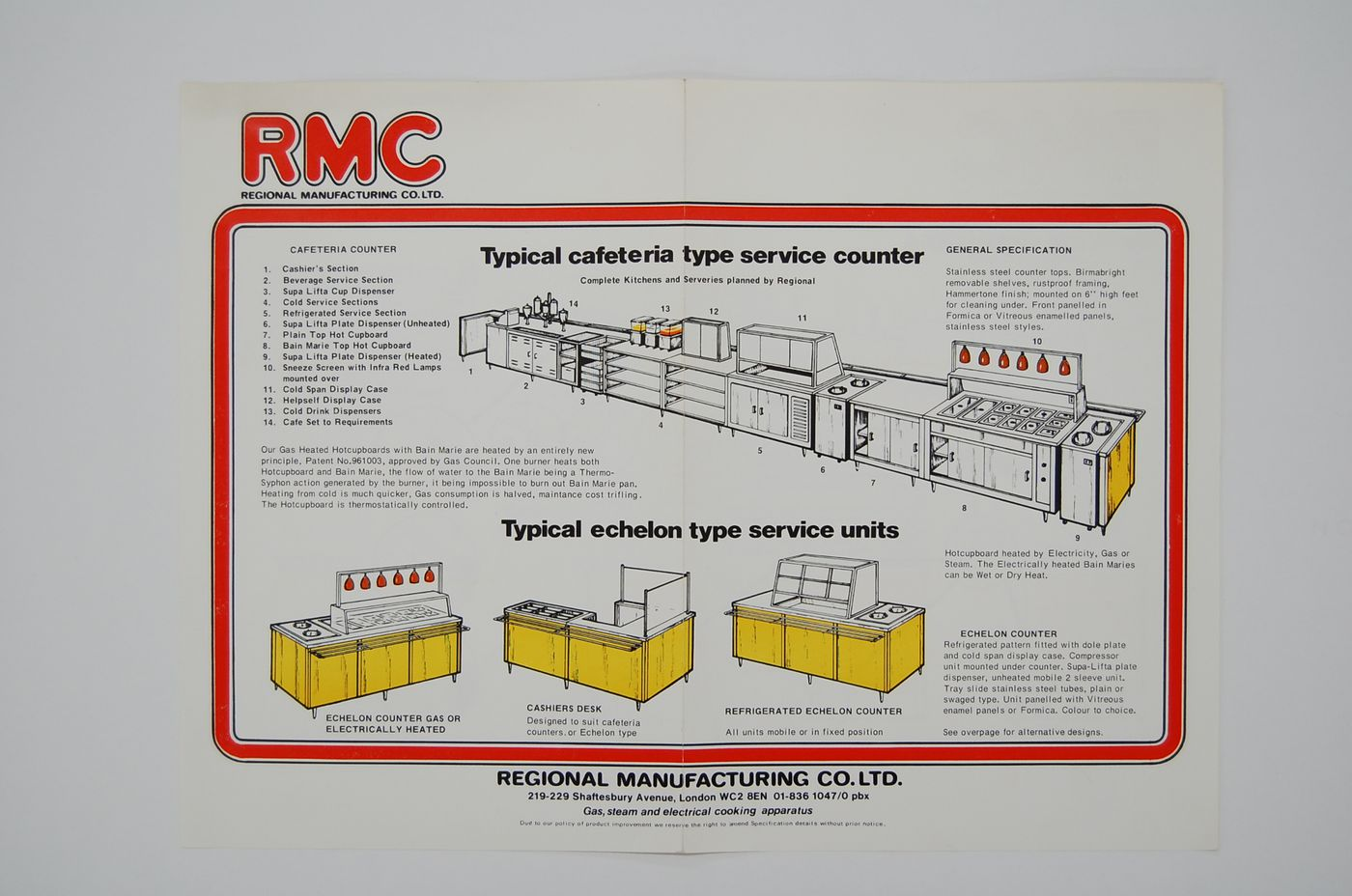 Broadside advertising RMC typical cafeteria type service counter