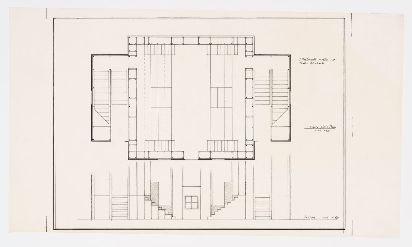 Plan and section of the exhibition set up at the Teatro del Mondo (Allestimento mostra nel Teatro del Mondo), Venice, Italy