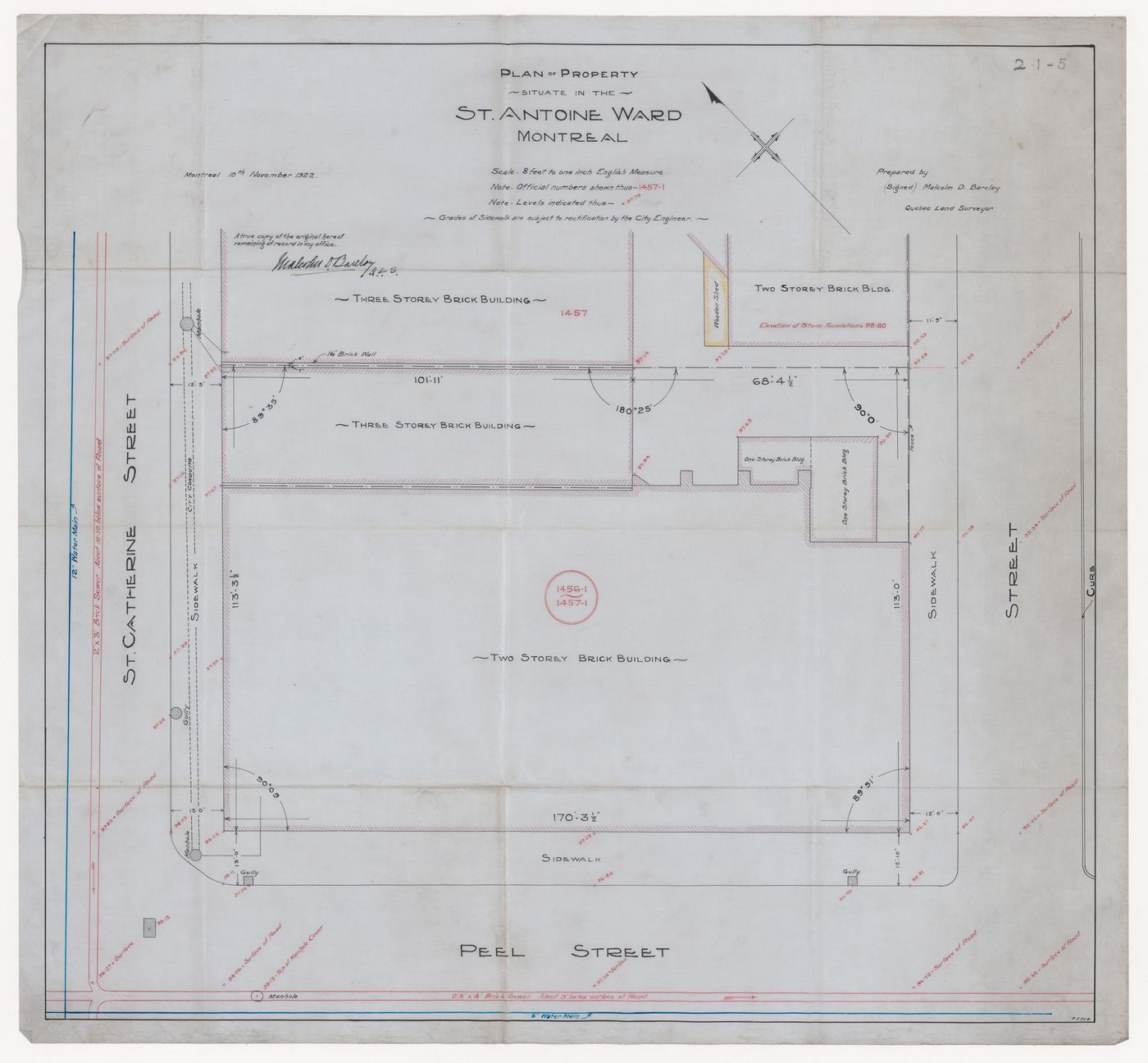 Plan of property in St Antoine Ward for Dominion Square Building, Montreal, Québec