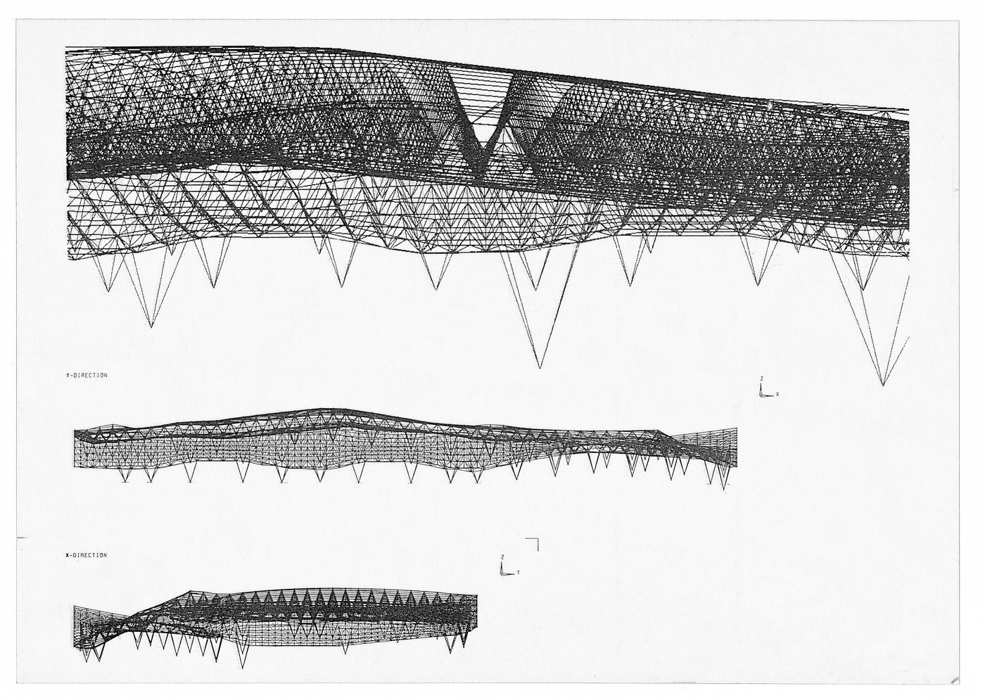 Computer-generated images showing deformation of the roof for the Odawara Municipal Sports Complex, Odawara, Kanagawa, Japan