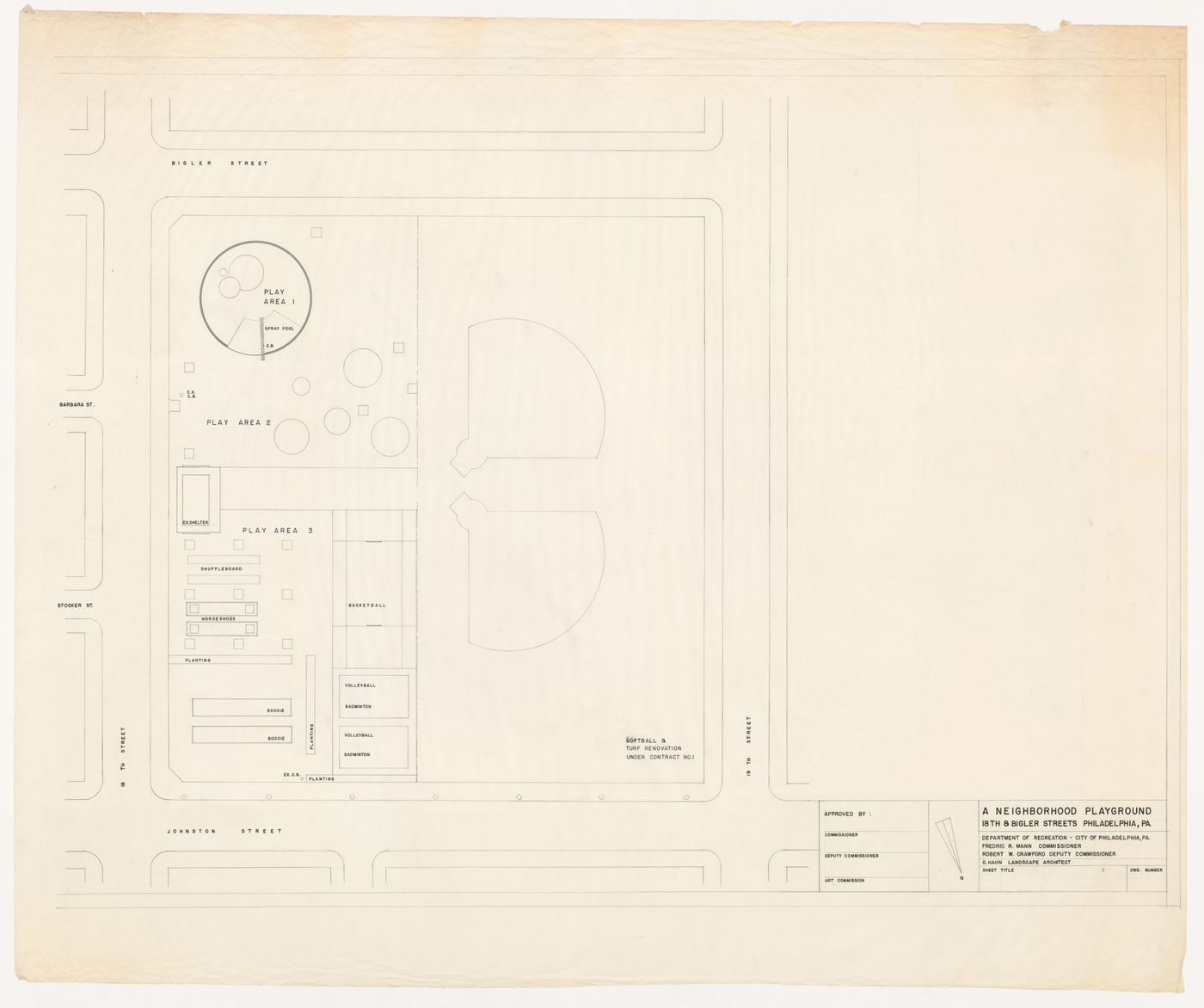 Site plan for recreational area at 18th and Bigler Streets, Philadelphia, Pennsylvania