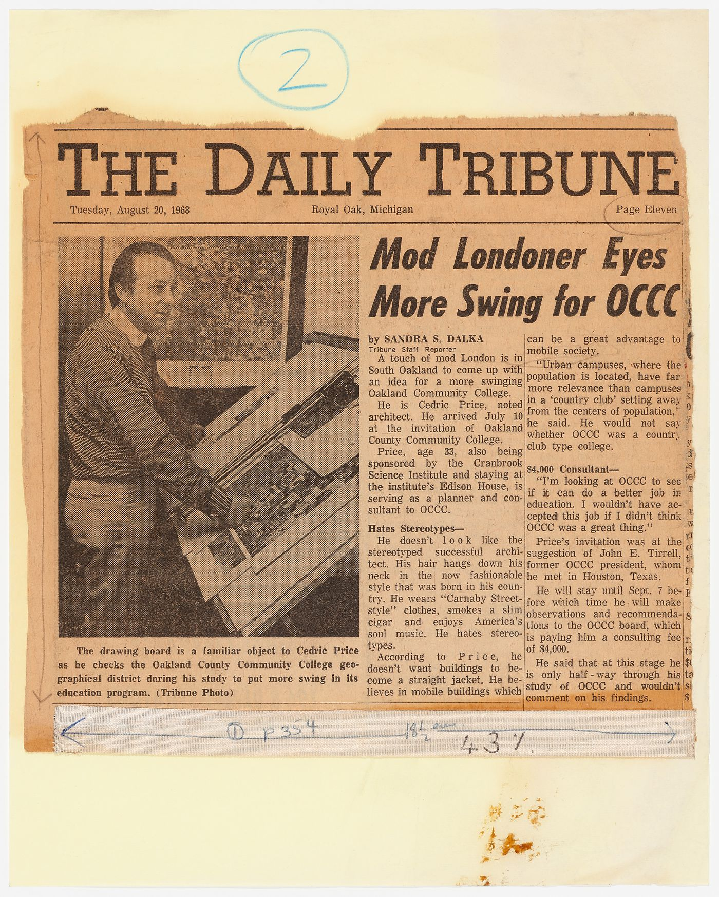 Clipping of an article about Cedric Price from the August 20, 1968 issue of The Daily Tribune (Royal Oak, Michigan)