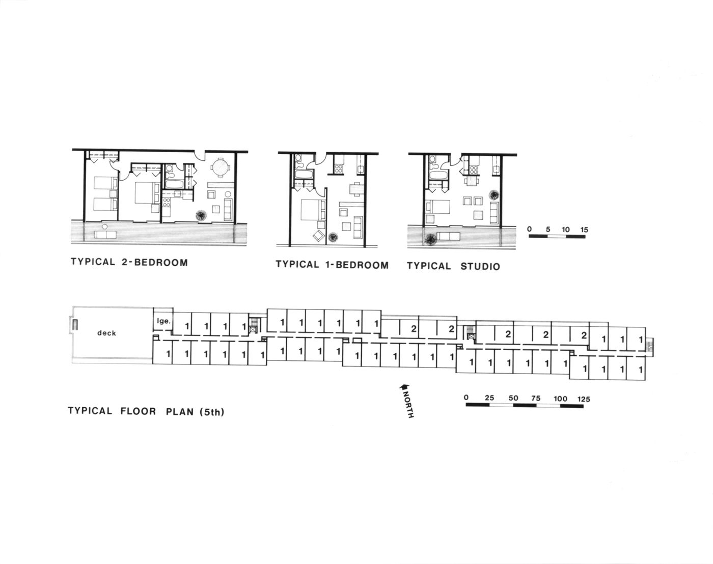 Typical floor plan (5th), typical bedroom and studio plans