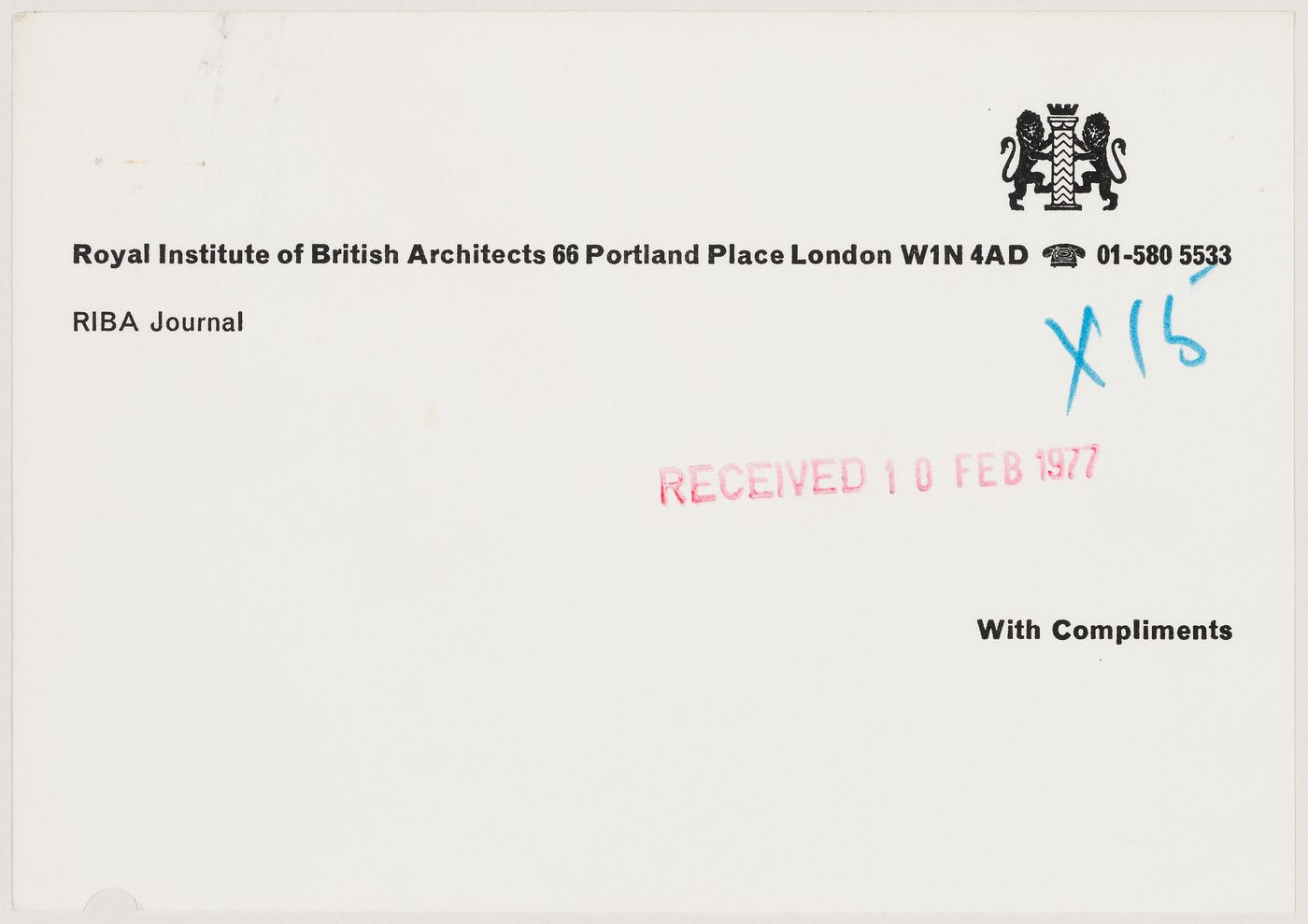 Compliments slip issued by the Royal Institute of British Architects (document from Westpen project records)