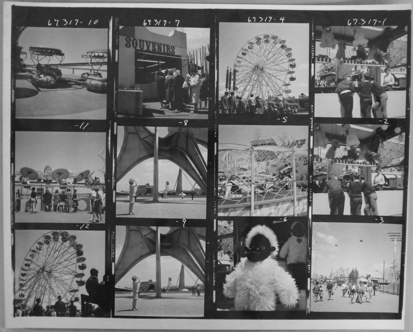 Contact sheet with photographs taken principally at La Ronde, Expo 67, Montréal, Québec