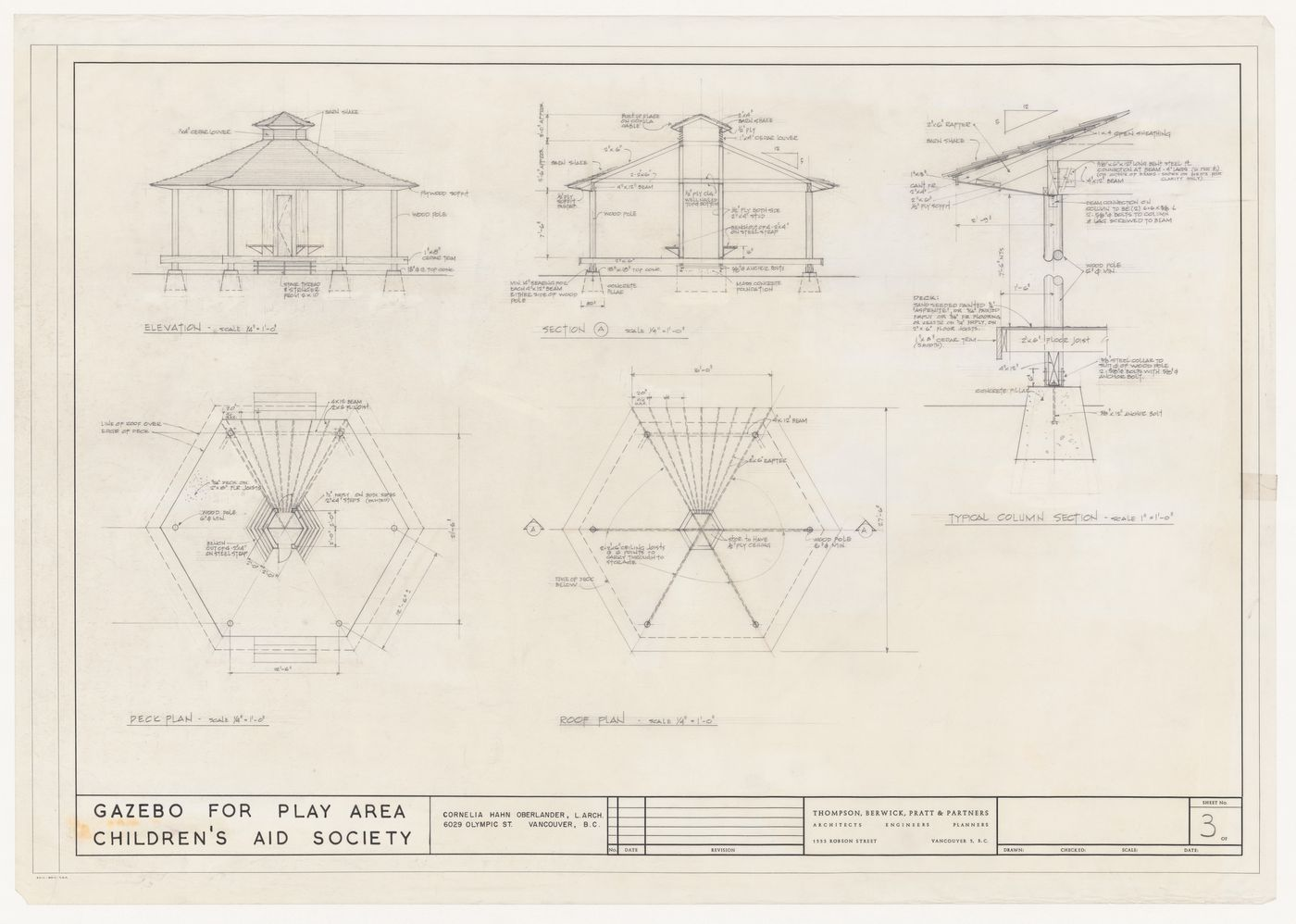 Plans, elevation, section, and detail for gazebo for play area for Eileen Colbert Home, Vancouver, British Columbia