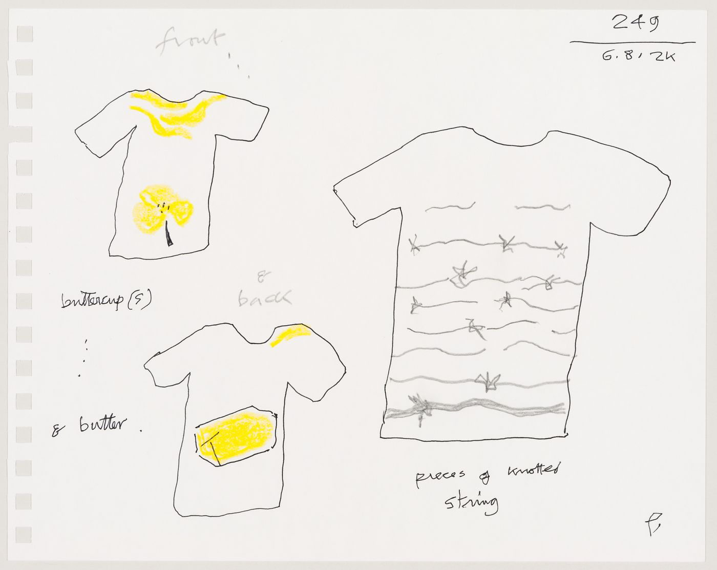 "T-shirt design sketches (""buttercup(s) & butter"", ""pieces of knotted string"")"