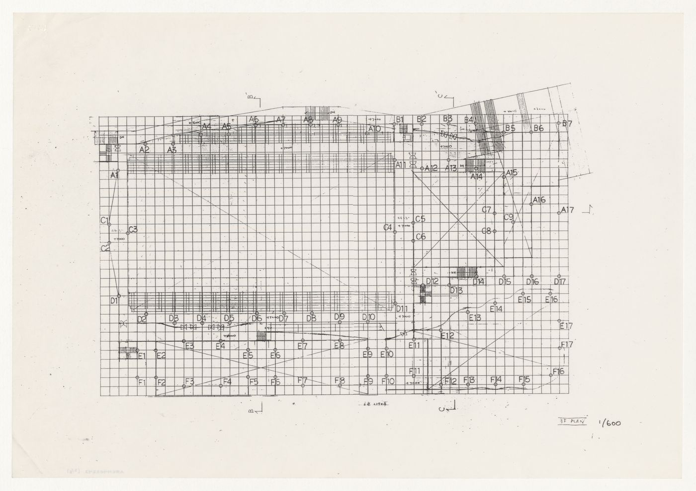 Plan and diagrammatic roof sections for Odawara Municipal Sports Complex, Odawara, Japan