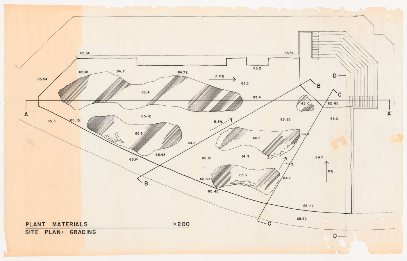 Site plan for plant materials showing grading for National Gallery of Canada, Ottawa, Ontario