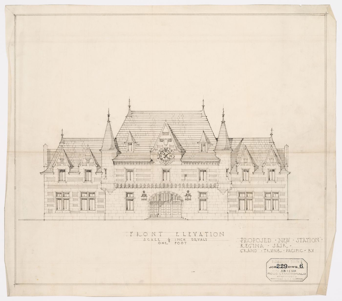 Proposal for Regina Railroad Station, Saskatchewan: front elevation