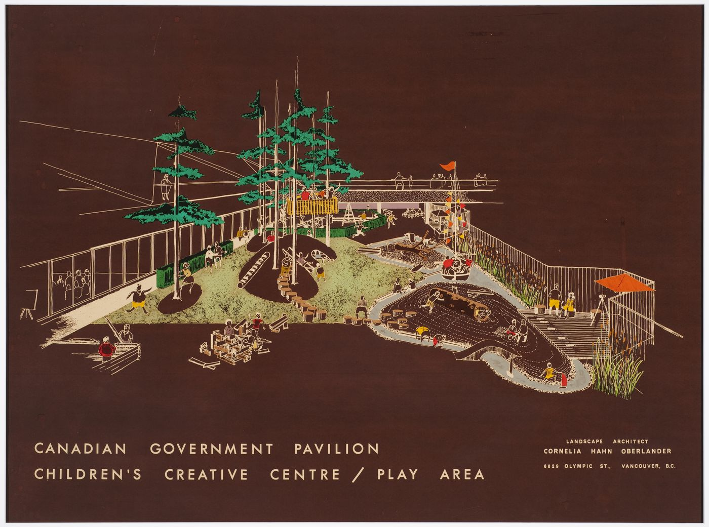 Perspective view for Children's Creative Centre Playground, Canadian Federal Pavilion, Expo '67, Montréal, Québec