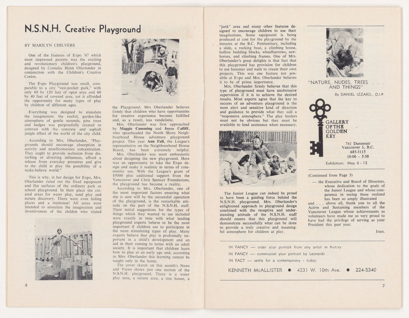 Periodical of the Junior League of Vancouver with article for Children's Creative Centre Playground, Canadian Federal Pavilion, Expo '67, Montréal, Québec