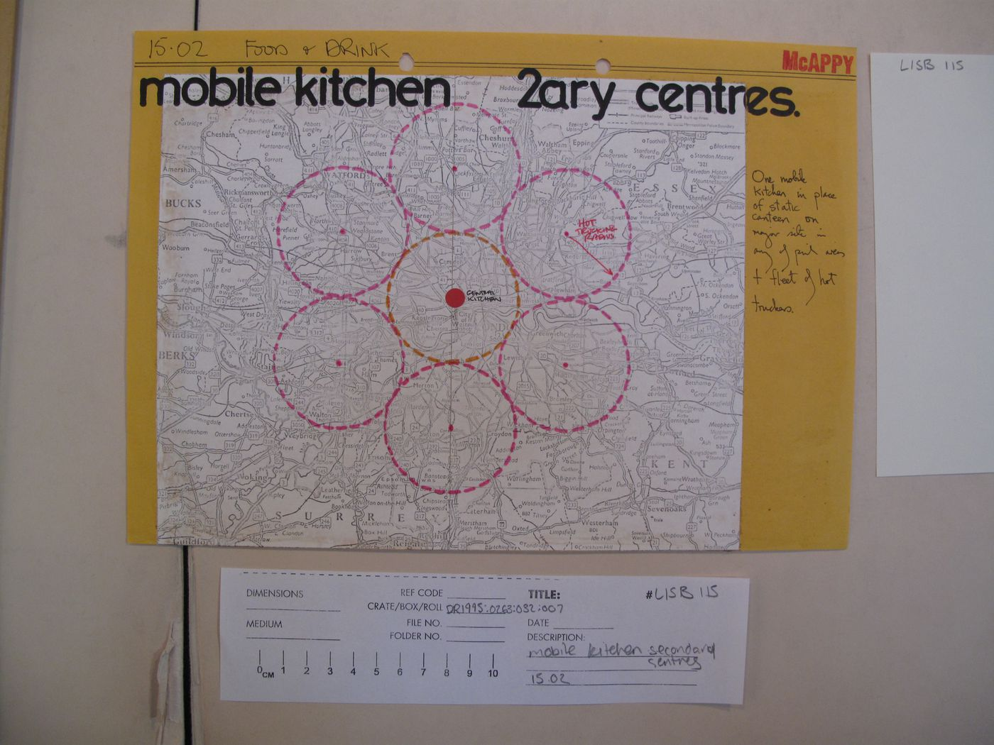 McAppy: map of London area showing mobile kitchen secondary centres
