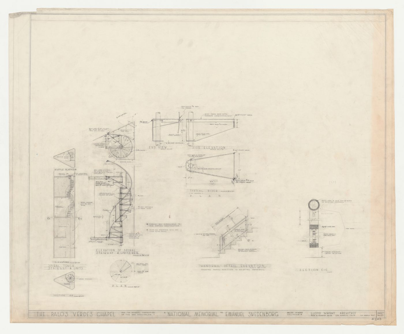 Picture of: Elevations Plan Section And Details For Campanile Spiral Staircase