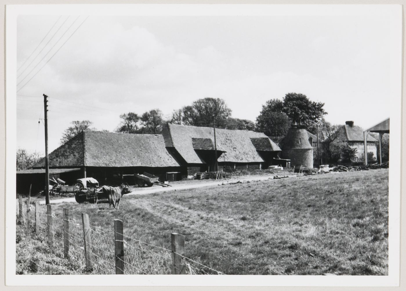 View of farm buildings and oast house, United Kingdom
