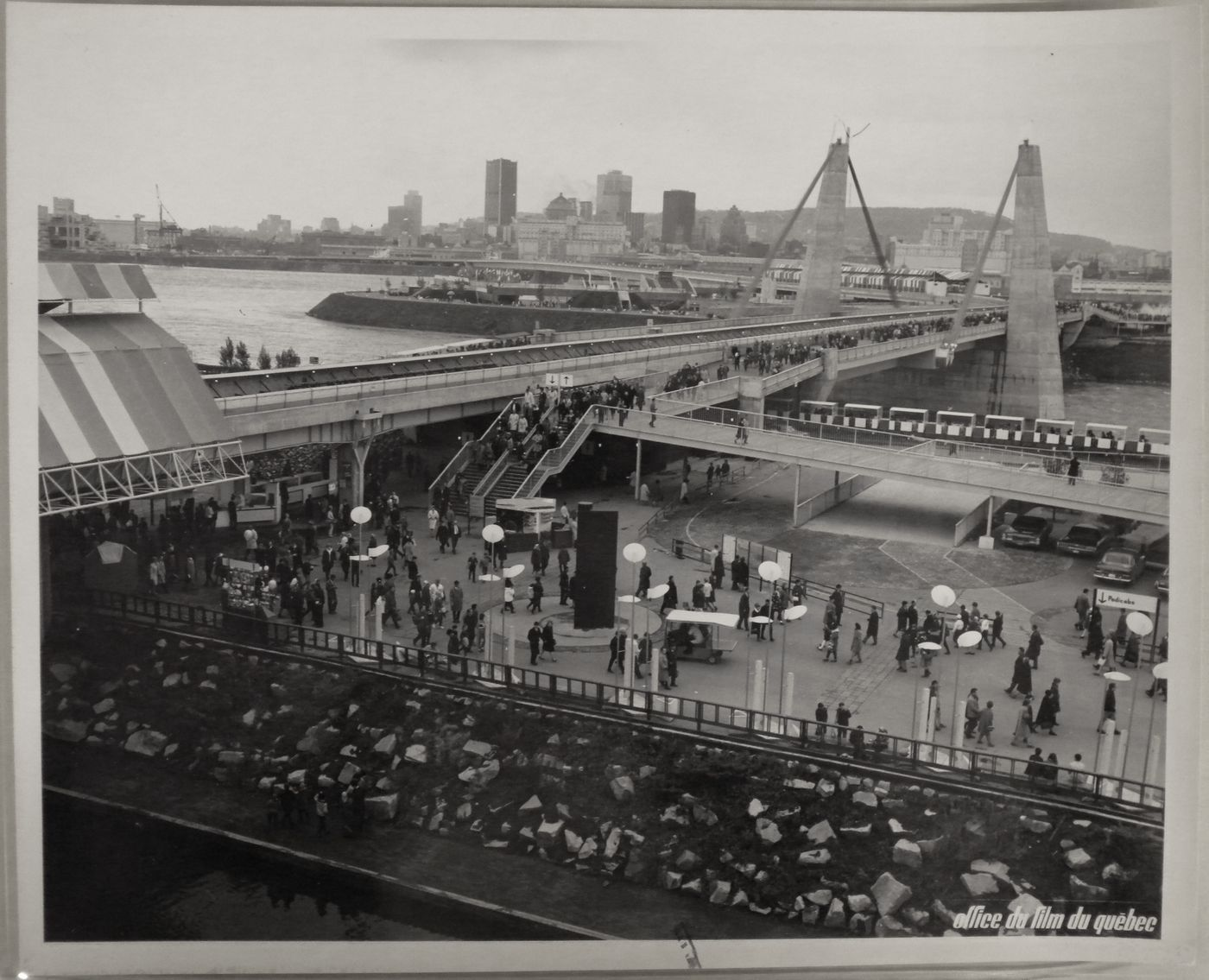View of the Concordia Bridge with Montréal as background, Expo 67, Montréal, Québec