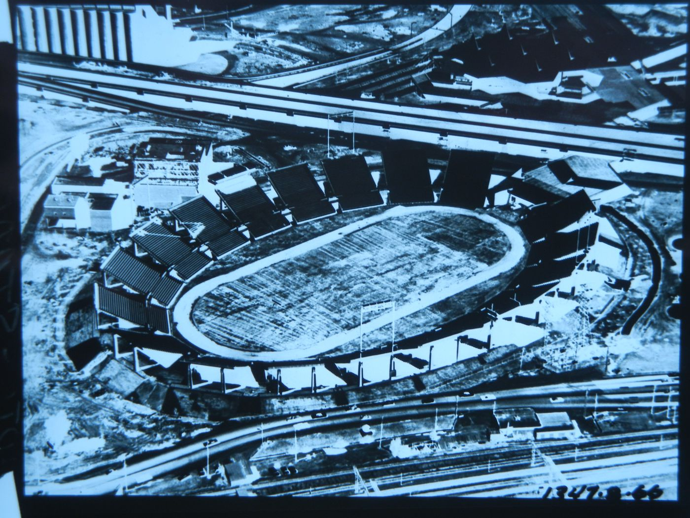 Aerial view of the Automotive Stadium, Expo 67, Montréal, Québec