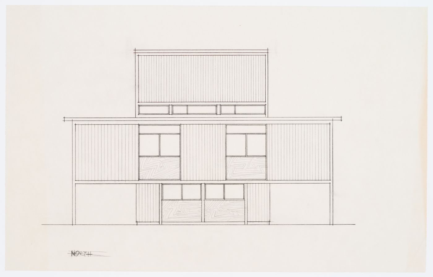Addition to Oberlander Residence, Vancouver, B.C. (Tick-Tack-Toe House): elevation