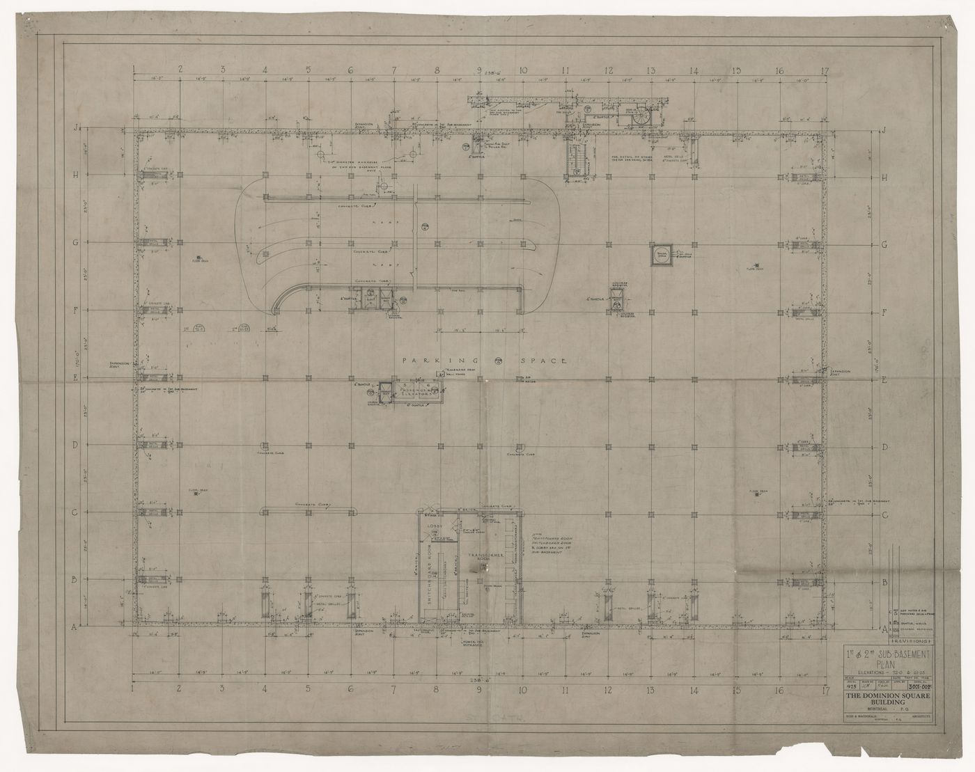 Sub-basement plan for Dominion Square Building, Montreal, Québec