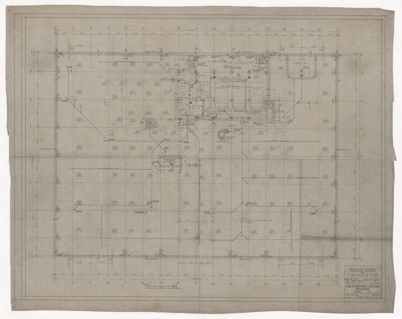 Boiler room and foundation plan for Dominion Square Building, Montreal, Québec