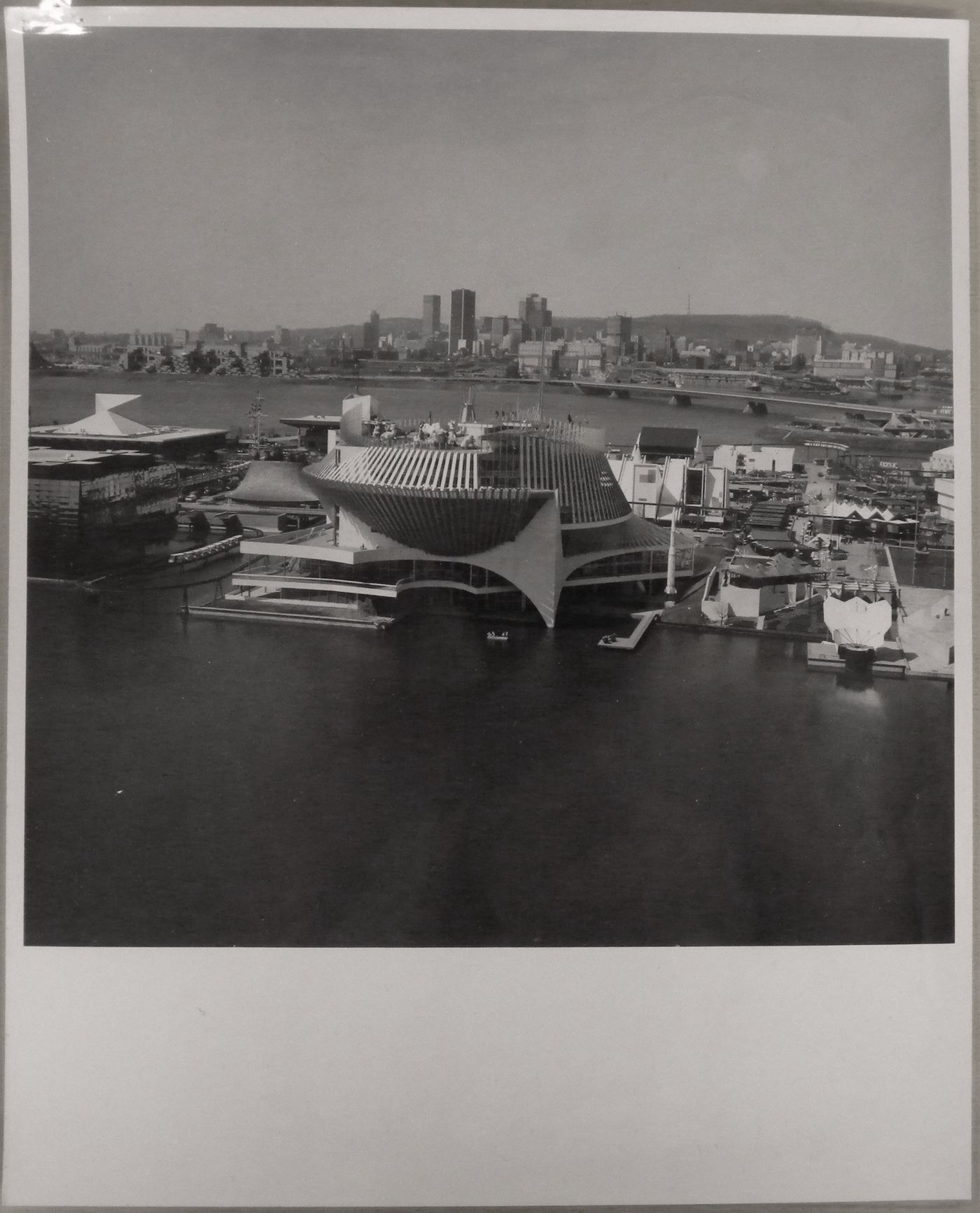 View of the Pavilion of France with Montréal in background, Expo 67, Montréal, Québec