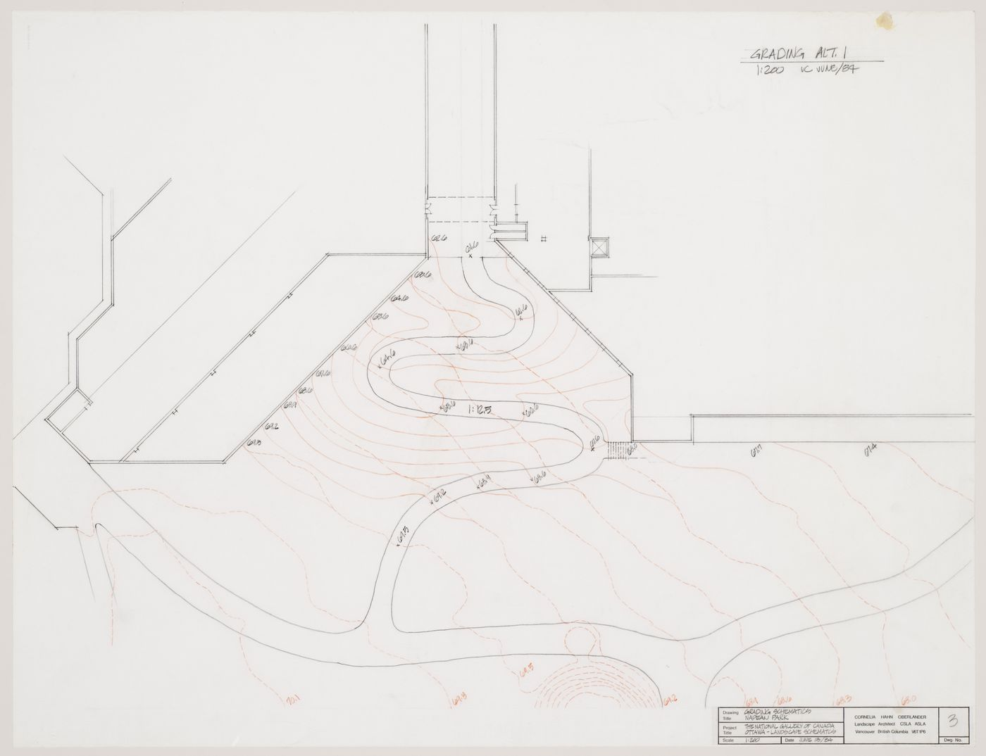 Grading schematic, National Gallery of Canada, Ottawa, Ontario