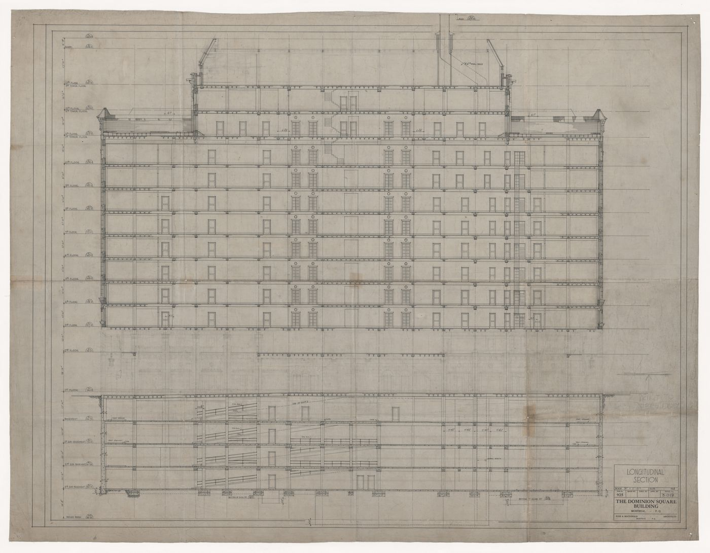 Longitudinal section for Dominion Square Building, Montreal, Québec