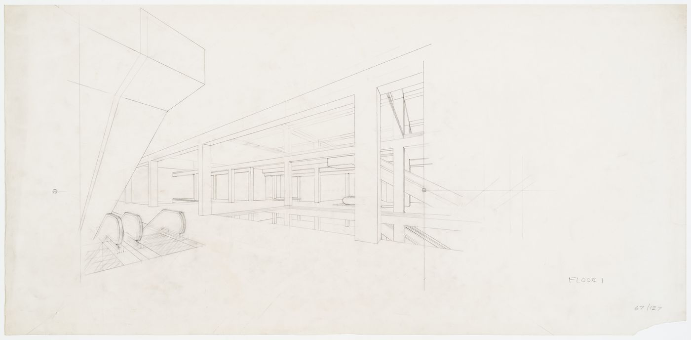 Perspective drawing for first floor of Oxford Corner House, London, England