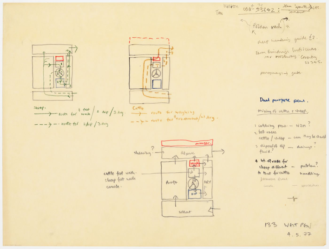 Diagrammatic plans for dual purpose livestock pens (document from Westpen project records)