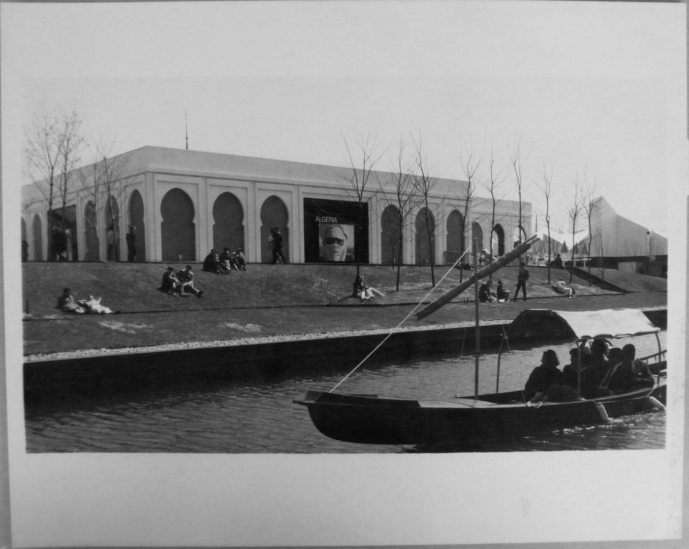 Back view of the Algerian Pavilion with a gondola in foreground, Expo 67, Montréal, Québec