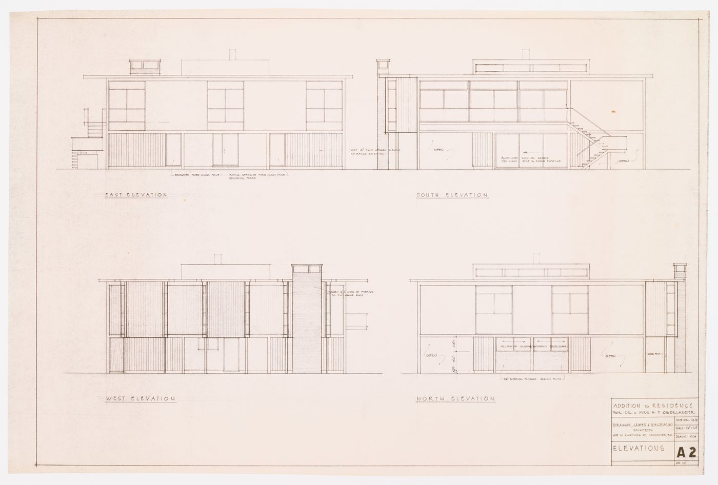 Addition to residence for Dr. & Mrs. H.P. Oberlander: elevations