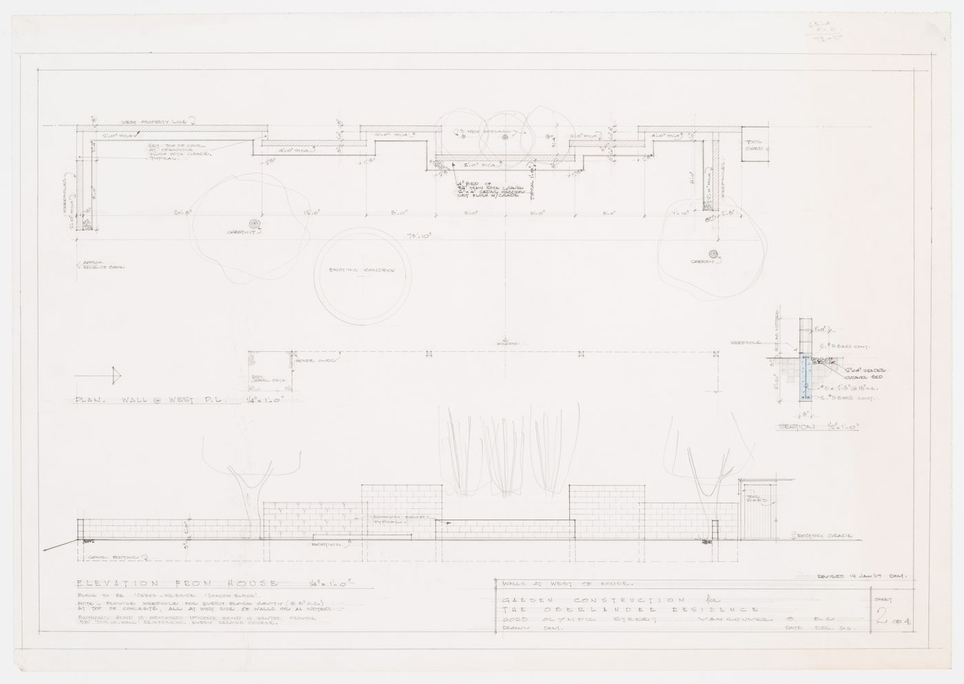 Garden construction for the Oberlander Residence: plan and elevation of the walls at the west of the house
