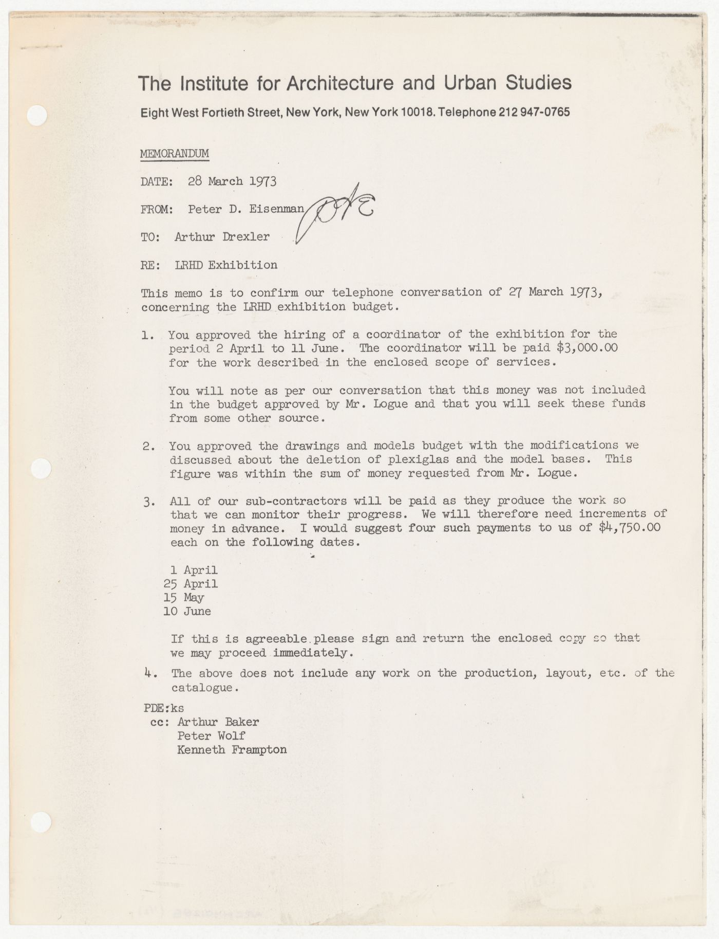 Memorandum from Peter D. Eisenman to Arthur Drexler about Low-Rise High-Density (LRHD) exihibition