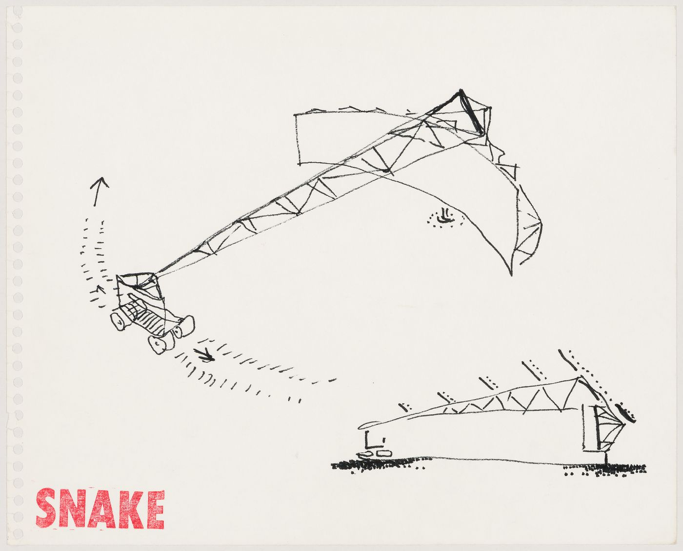 "Snake: sketch of the car for visitors connected to Sidney Nolan's painting ""Snake"""