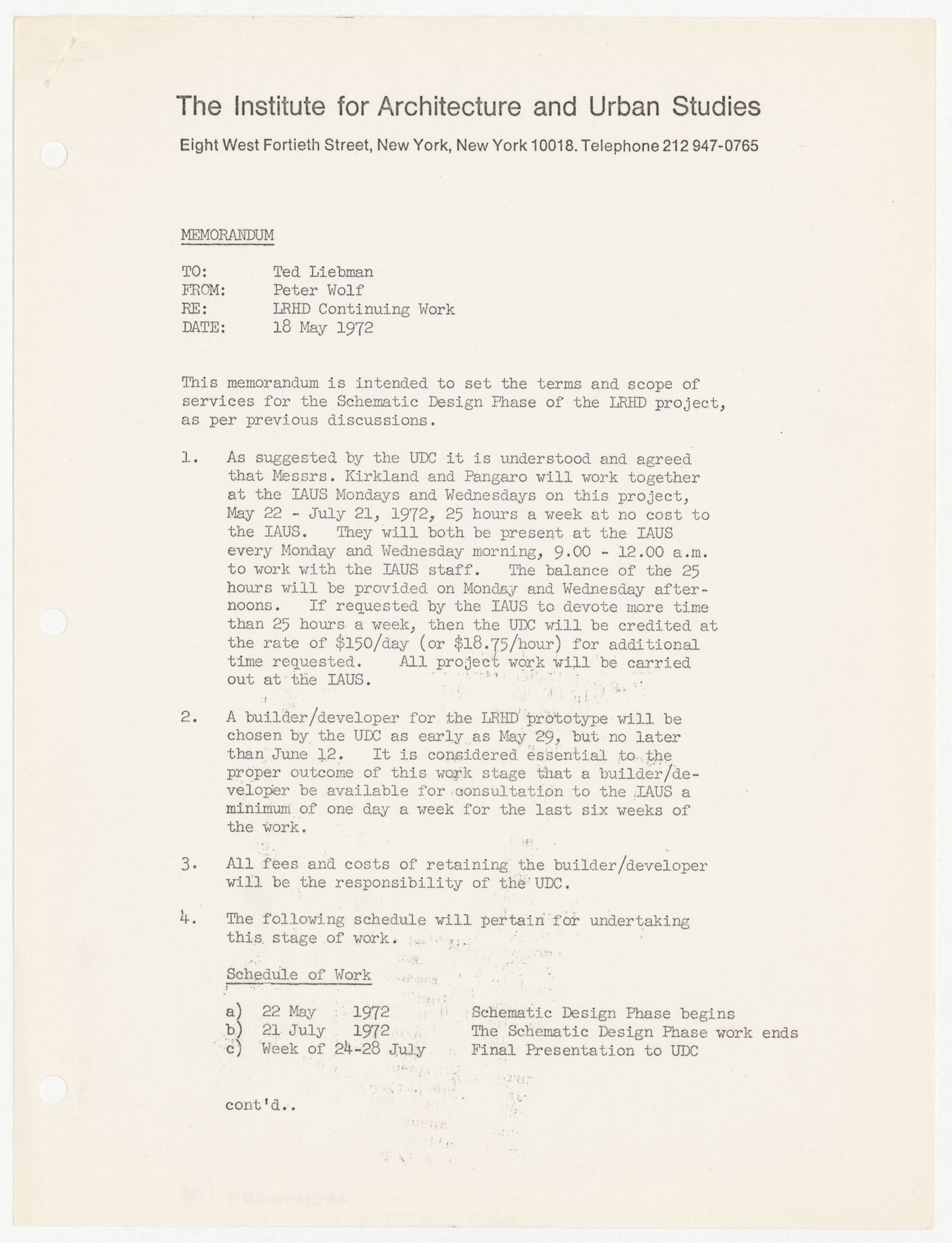 Memorandum from Peter Wolf to Theodore Liebman about the terms and scope of services for the schematic design phase of the Low-Rise HIgh-Density (LRHD) project