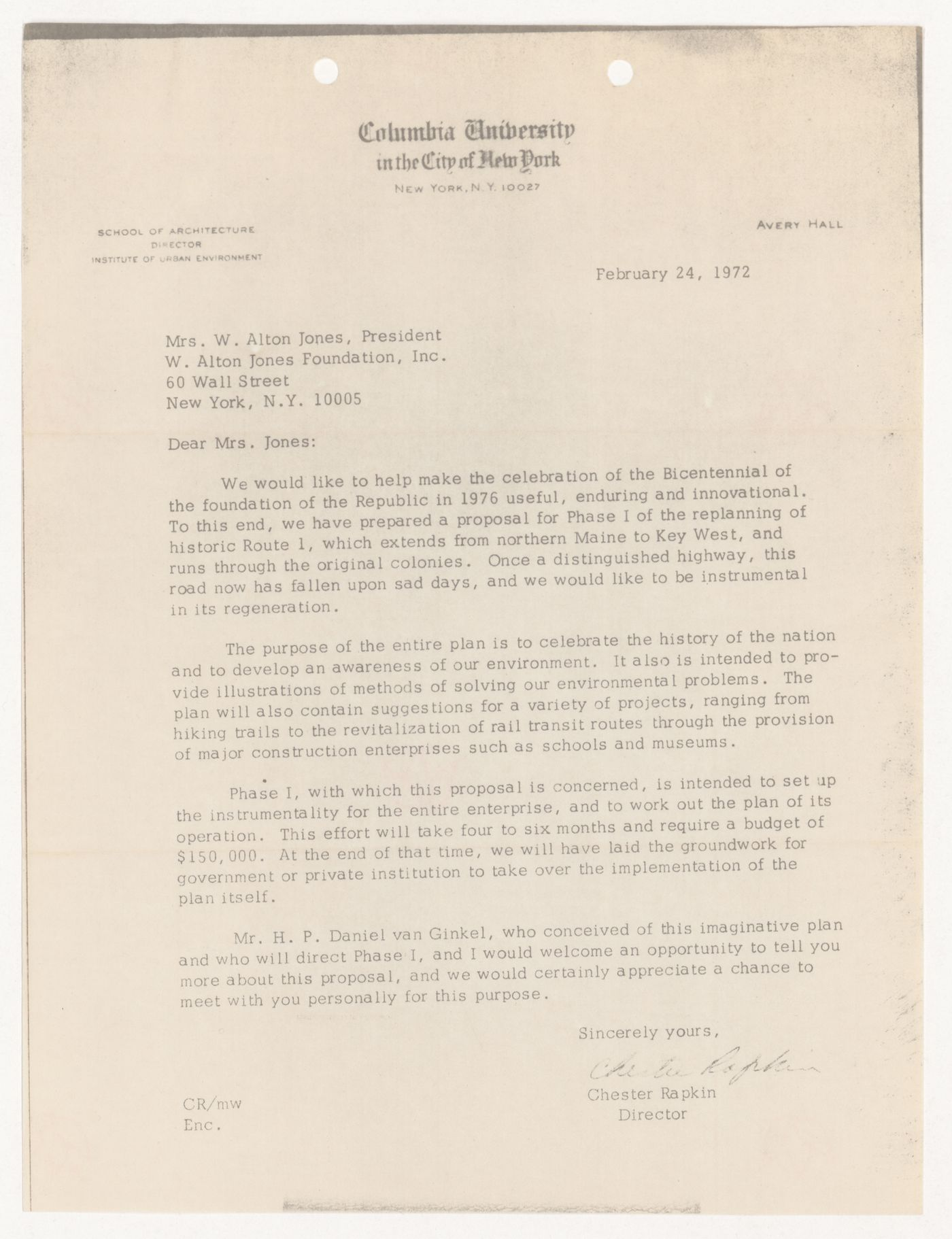 Letter from Chester Rapkin to Mrs. W. Alton Jones for United States One (U.S. 1)