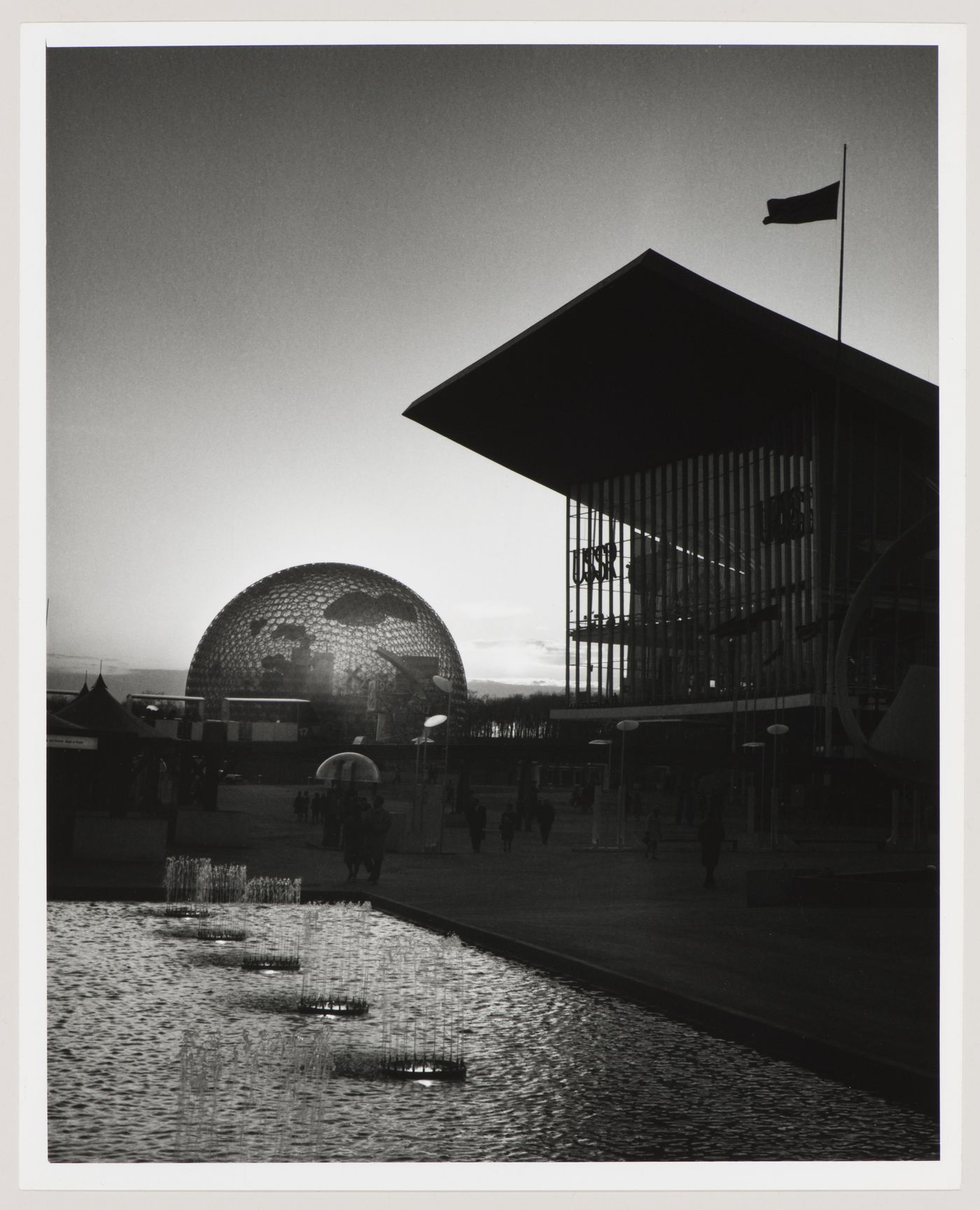 Sunset view of the Pavilions of the United States and of the Soviet Union, Expo 67, Montréal, Québec