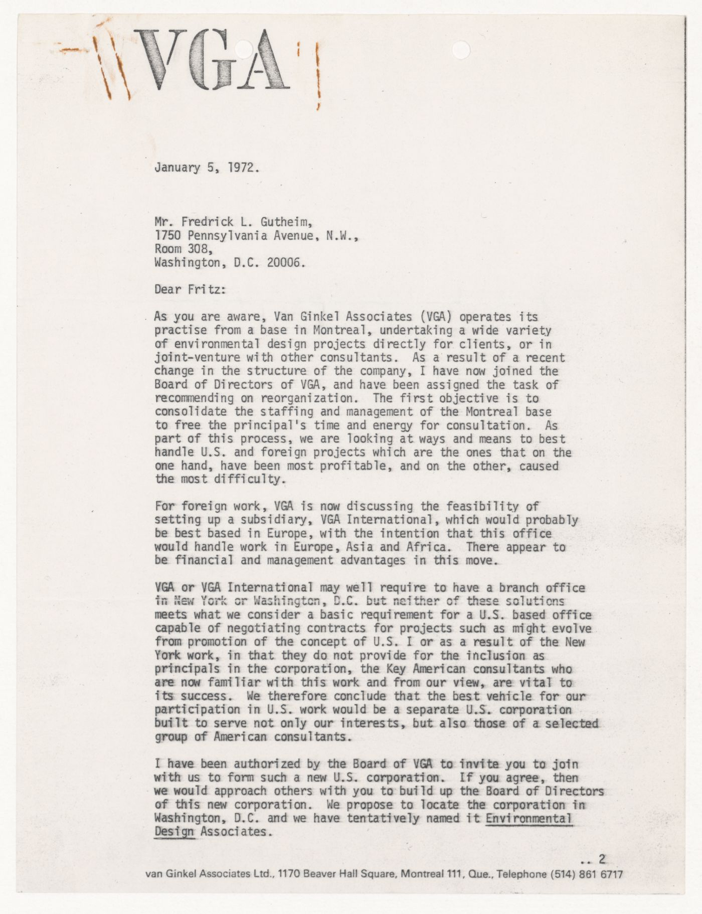 Letter from Douglas Shadbolt to Frederick Gutheim for United States One (U.S. 1)