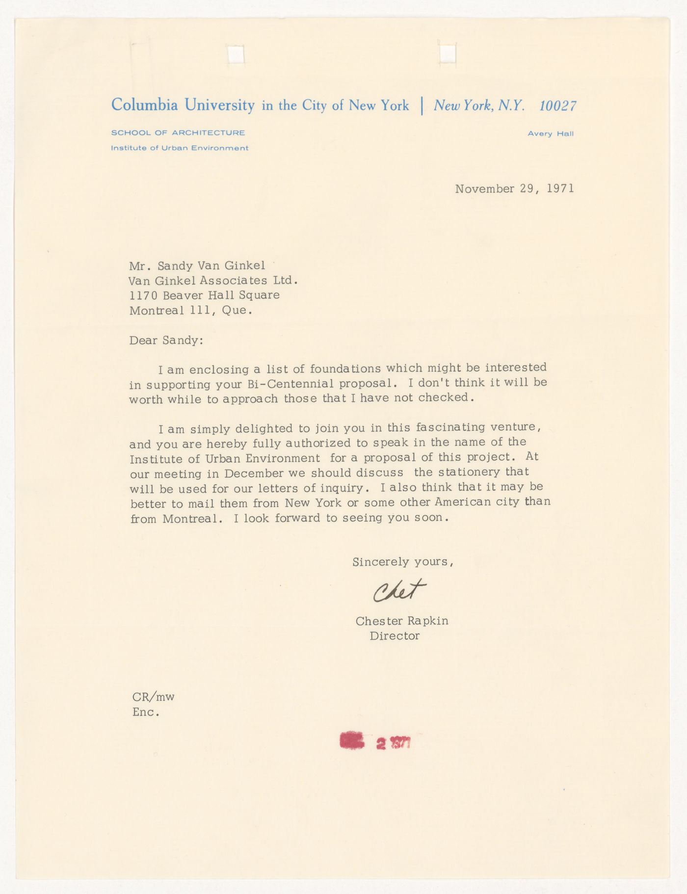 Letter from Chester Rapkin to to H. P. Daniel van Ginkel for United States One (U.S. 1)