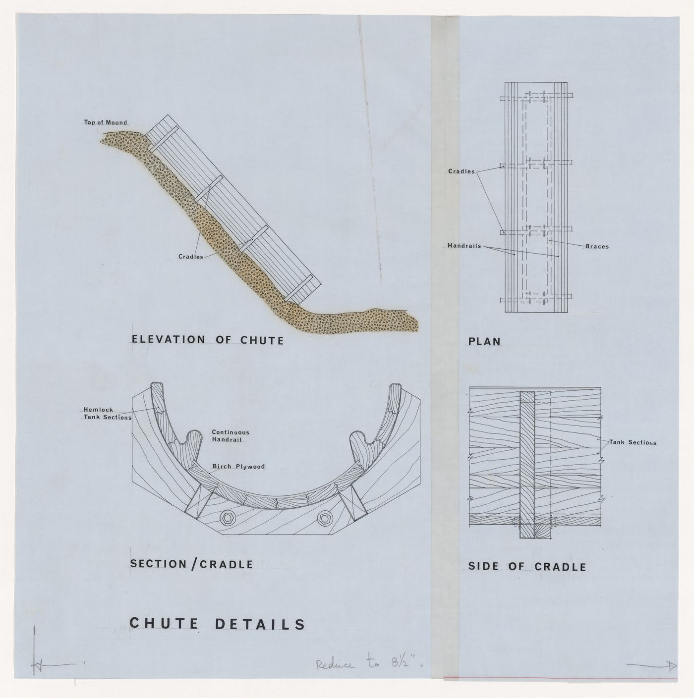 Elevation, plan, section, and details for chute for Children's Creative Centre Playground, Canadian Federal Pavilion, Expo '67, Montréal, Québec