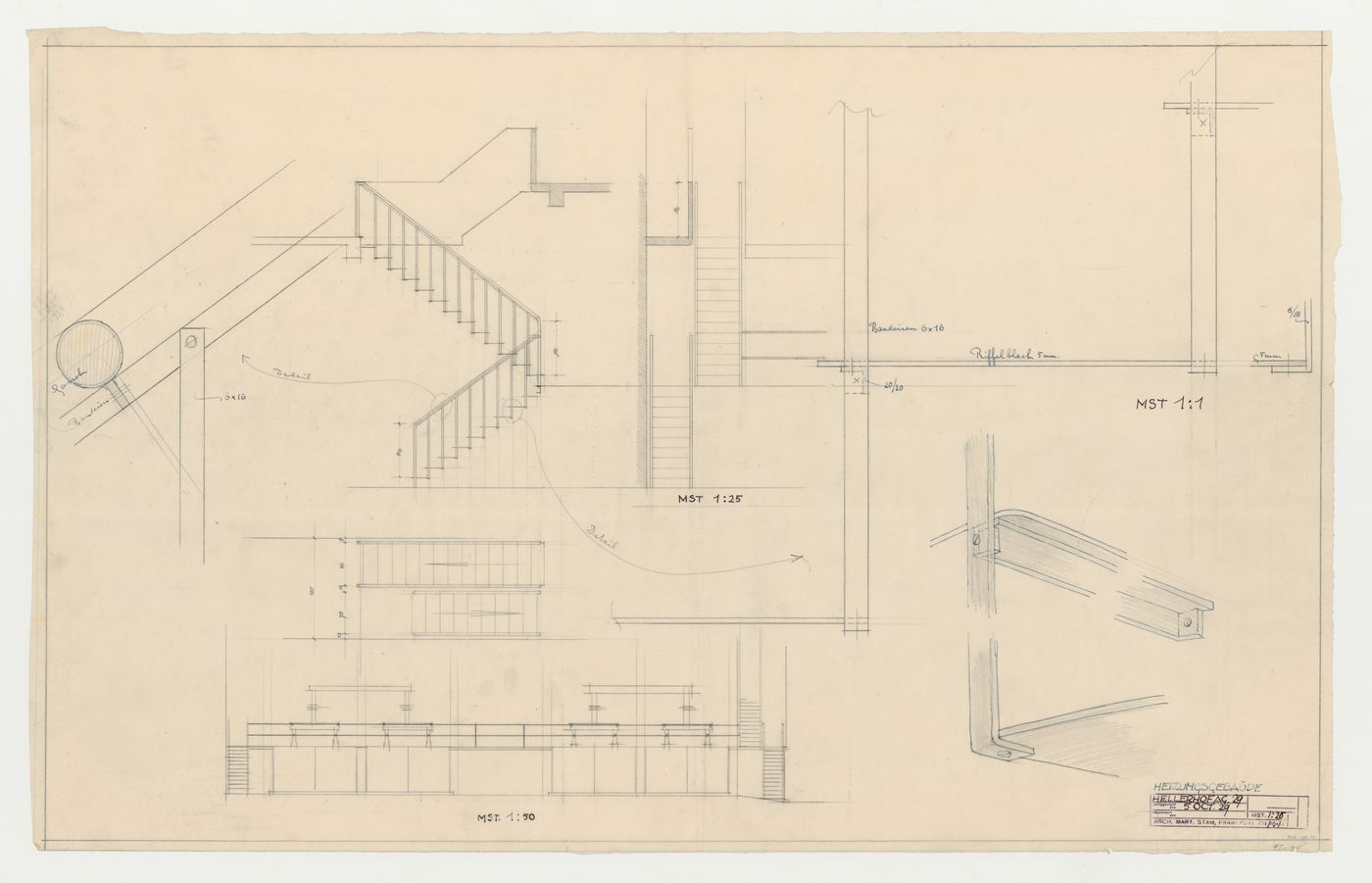 DR1984:1029, Plan, elevation, section, and sectional details for stairs