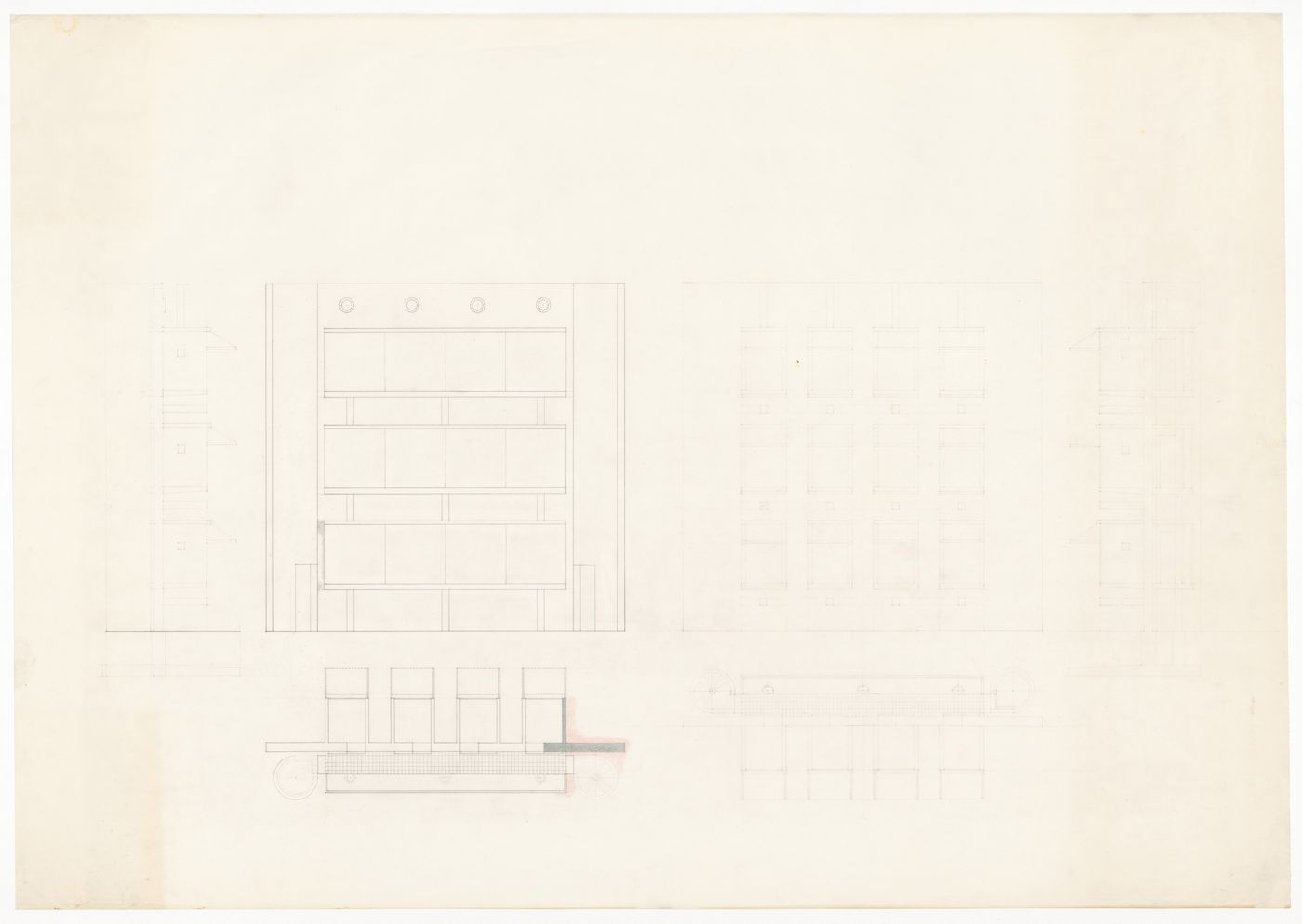 Elevations and roof plans for The House for the Inhabitant who Refused to Participate