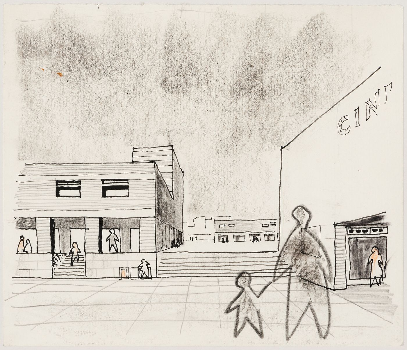 Perspective sketch for thesis project for Oldham Town Centre