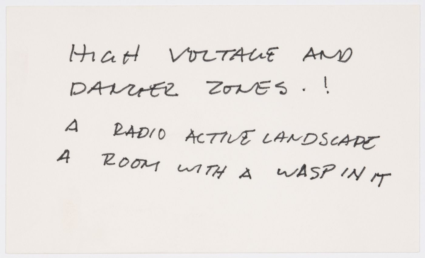 High voltage and danger zones. ! / A radio active landscape / A room with a wasp in it