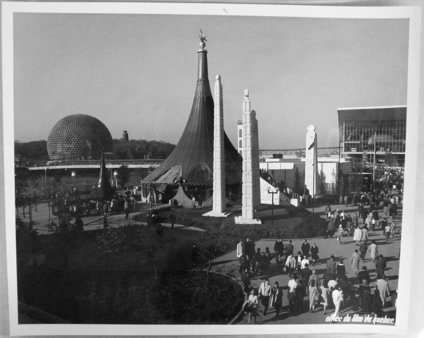 View of the Pavilion of Ethiopia with the Pavilions of the United States and of the Soviet Union in background, Expo 67, Montréal, Québec